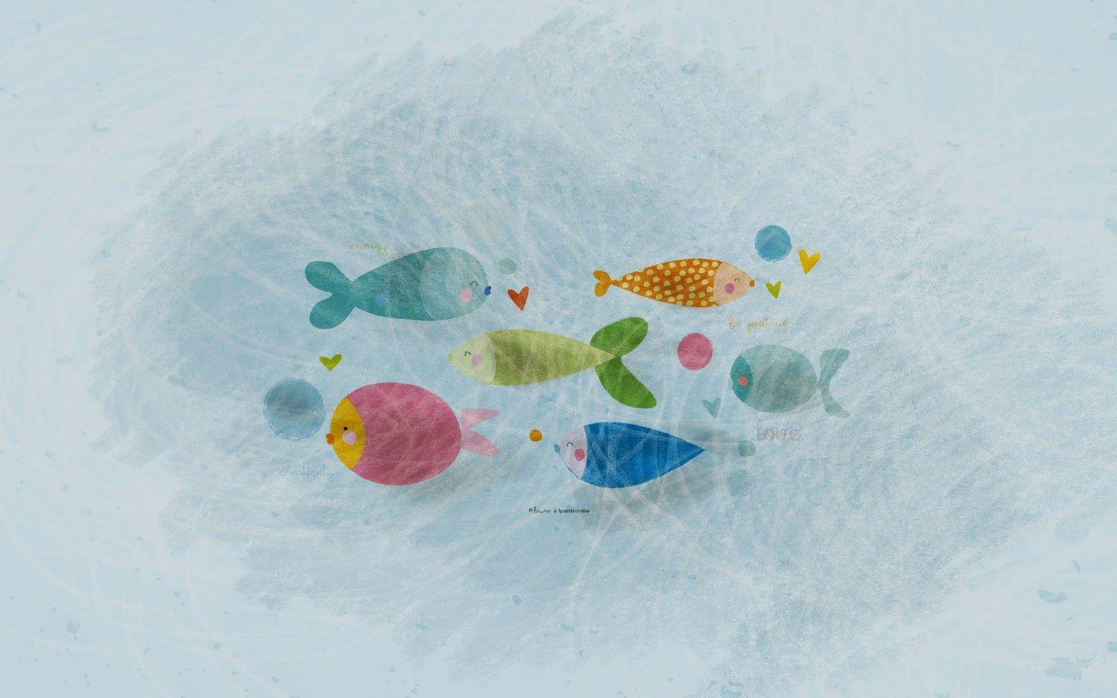 Fondos De Escritorio Gratis: Colorfull Little Fishes Desktop Wallpaper #freebie