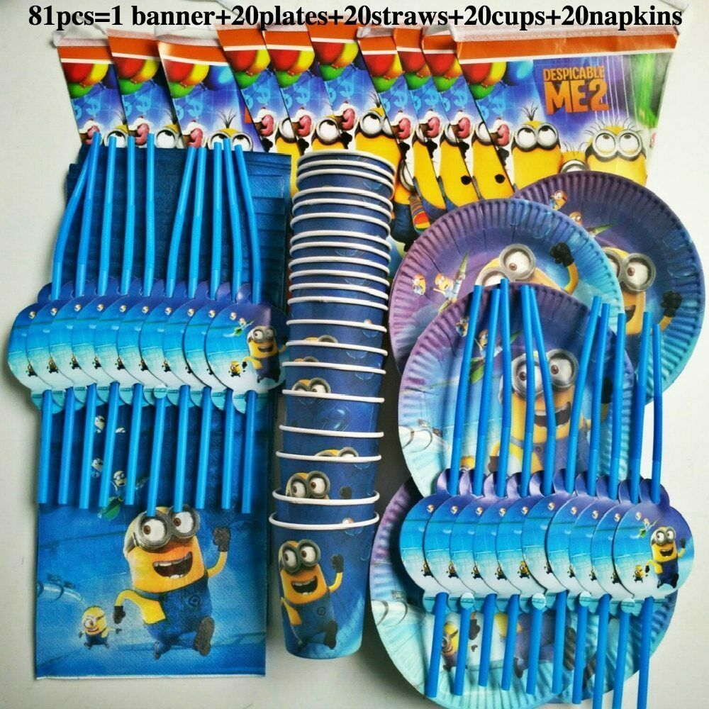 81pcs Minions Birthday Party Set Kids Baby Shower Party