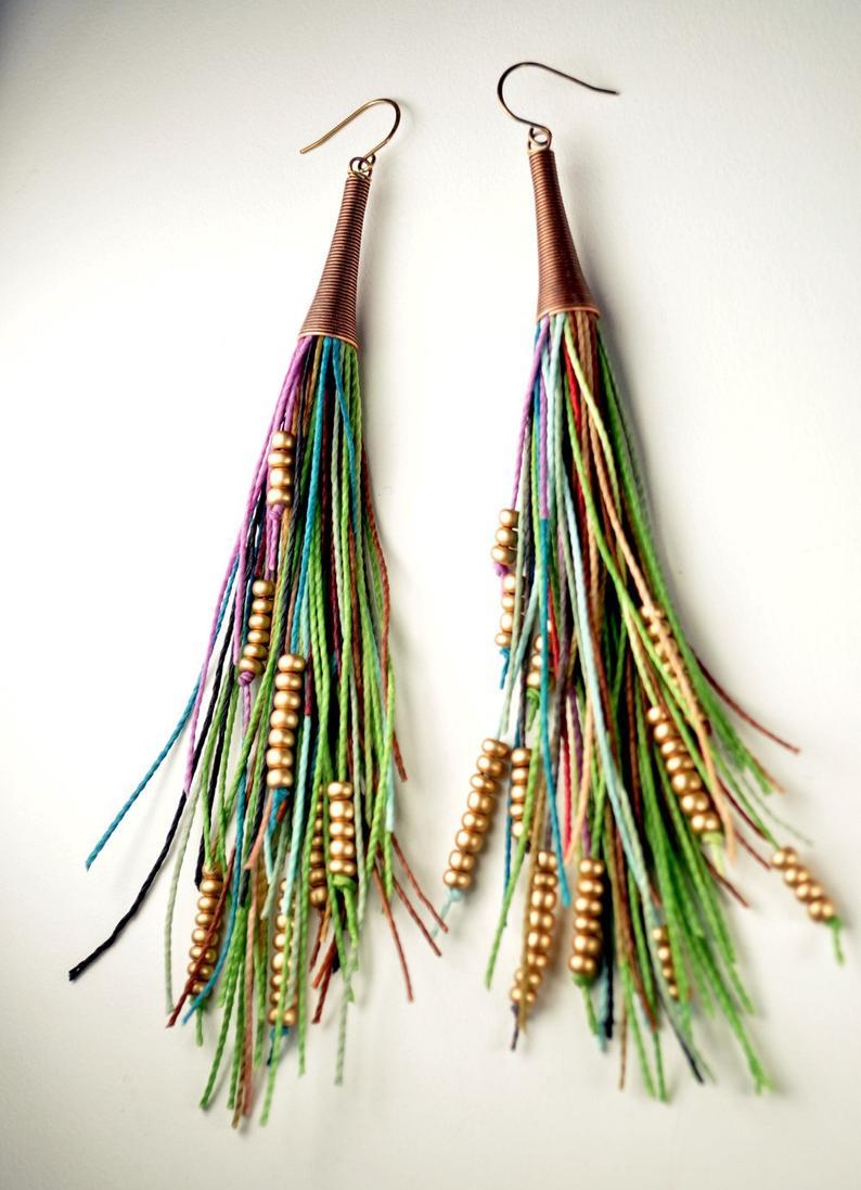 Vegan Tribal Feather Fringe Earrings