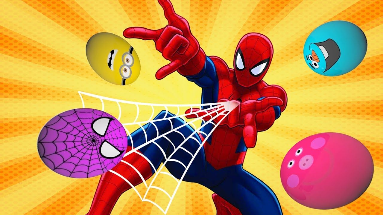 Learn Colors With Surprise Eggs Minion Spider Man Frozen L Coloring Page