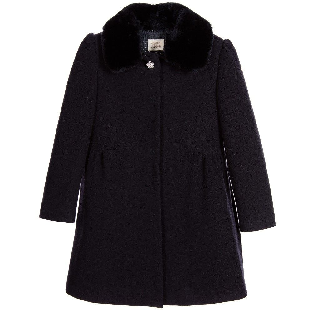 c57ccdcf4be2 Girls Navy Blue Coat with Synthetic Fur Collar