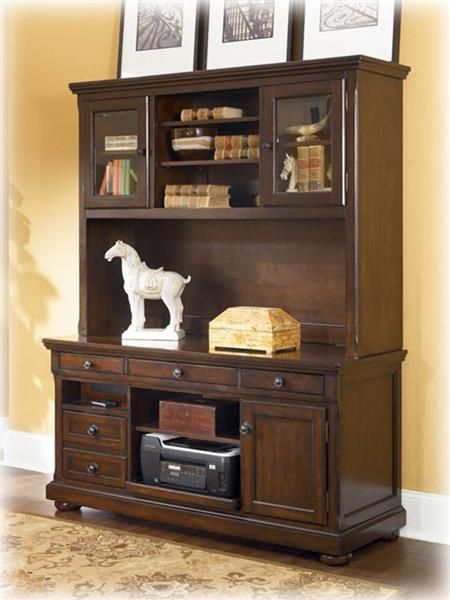 porter traditional brown wood credenza w large hutch contemporary rh pinterest com