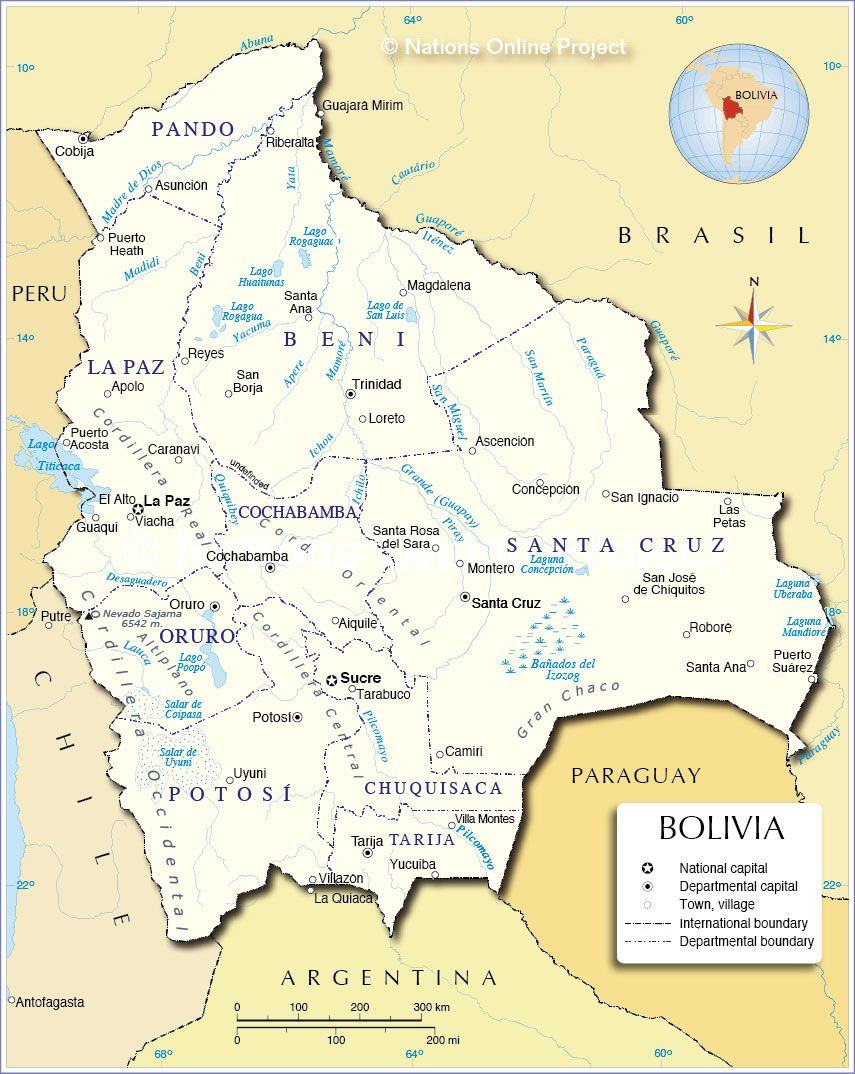 This Map Shows All The Major Cities Of Bolivia La Paz Sucre - Bolivia cities map