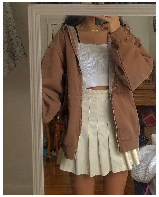 brown hoodie outfit