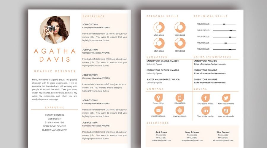 Agatha Davis Sample Resume Template For Graphic Designer | Smad201