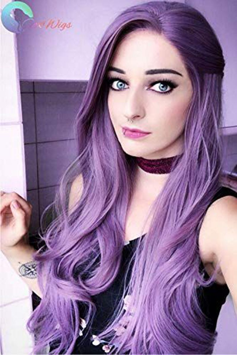 Long Straight Light Purple Wigs Natural Hairline Bubble