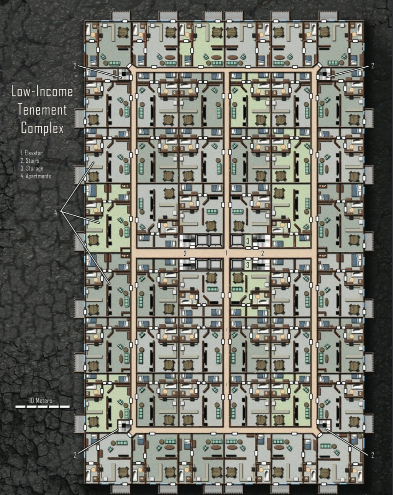 Low Income Tenement Complex shadowrun floorplan Low Income Tenement