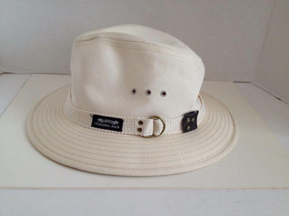 c51742efdd562c Original Panama Jack Canvas Safari #Hat Fedora Size Medium Made in USA Off  White #PanamaJack #Fedora #MadeInUSA