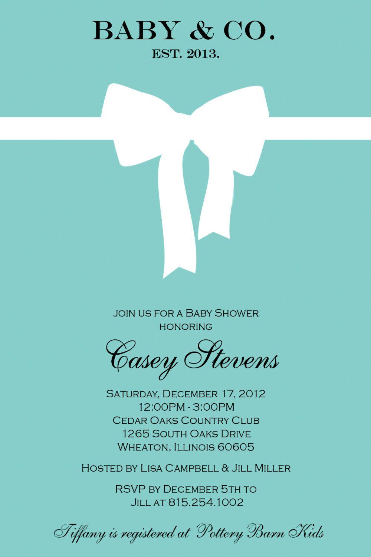 tiffany baby shower invitations inspired by tiffany blue box rh pinterest com