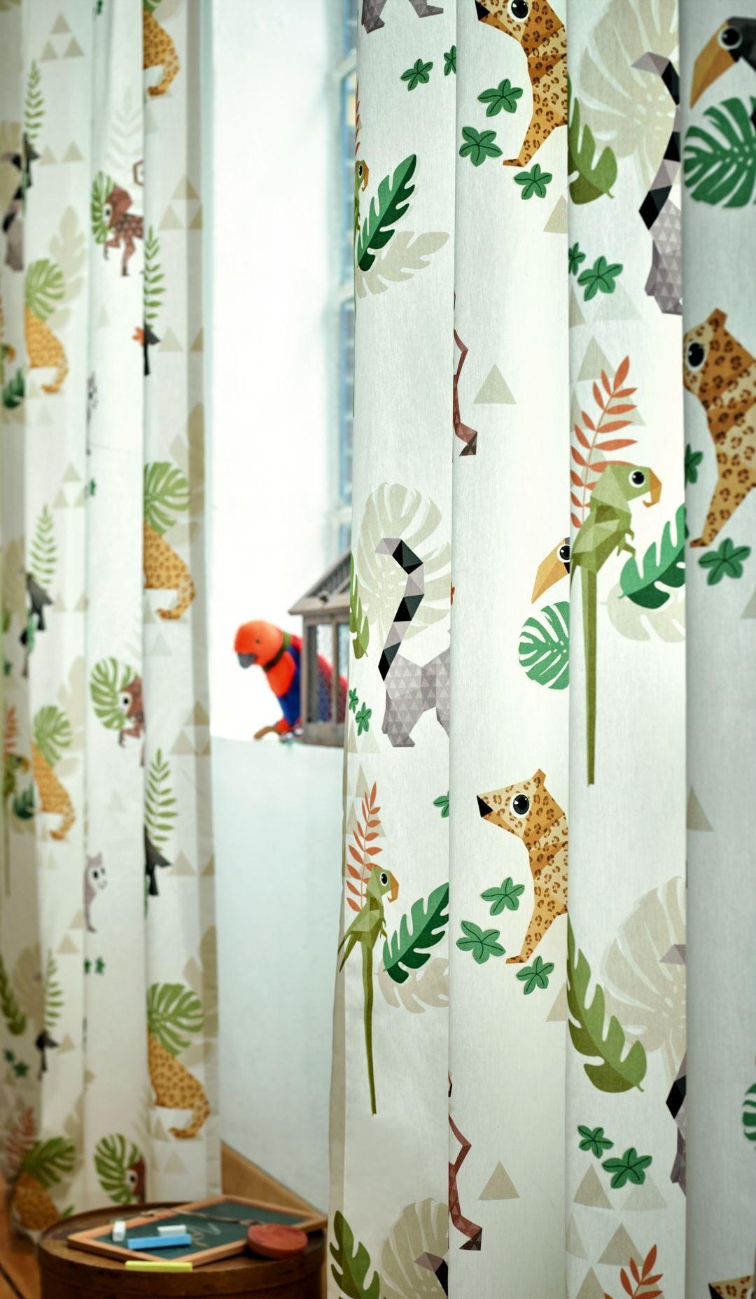 Groen Geel Zand Gordijn Jungle Art - In4305 05 Jungle Art