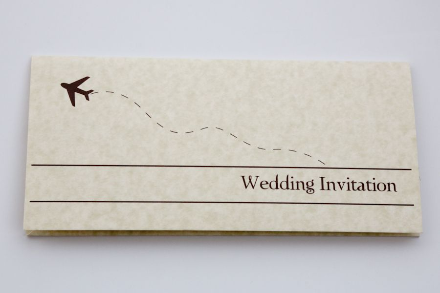 vintage wedding invitation text%0A Plane Ticket Wedding Invitation Template