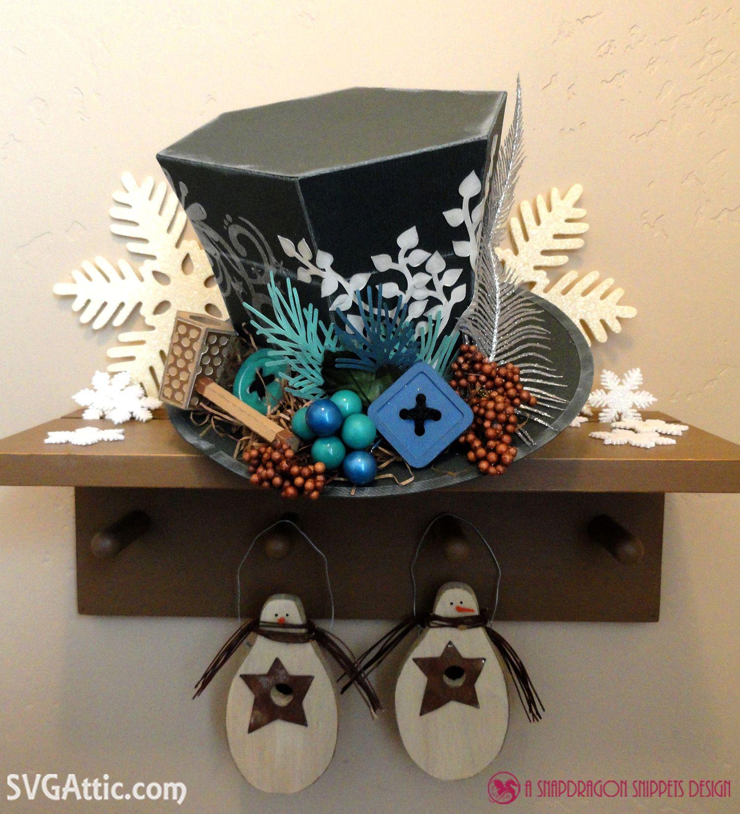 JGW Frosty Topper 3d paper Frosty the Snowman hat svg file