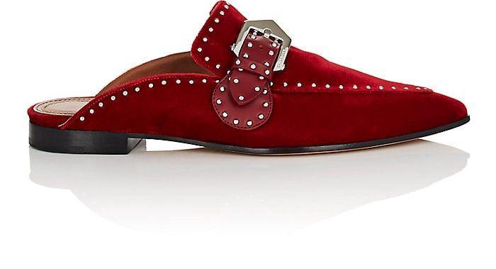 2acf90f619c Givenchy Elegant Studded Velvet Mules - 7.5 Red