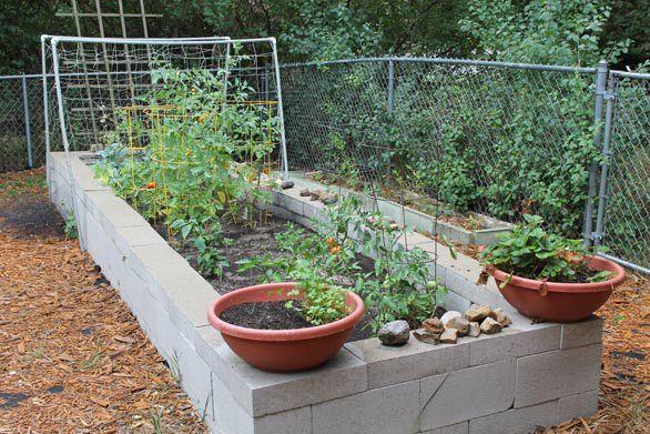 Raised Bed Garden With Cement Blocks Vertical Vegetable 400 x 300