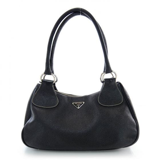 c94d25449f4afc This is an authentic PRADA Vitello Daino Box Shoulder Bag in Nero Black.  This is a fabulous Prada shoulder bag with sophisticated features and a  very ...