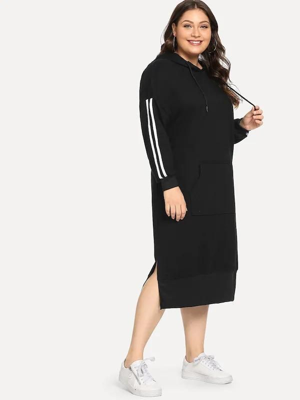 Photo of Plus Split Side Contrast Tape Hoodie Dress