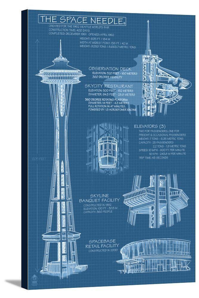 Seattle Washington Space Needle Technical Drawing Blueprint Lantern Press Artwork In 2020 Technical Drawing Architecture Drawing Space Needle