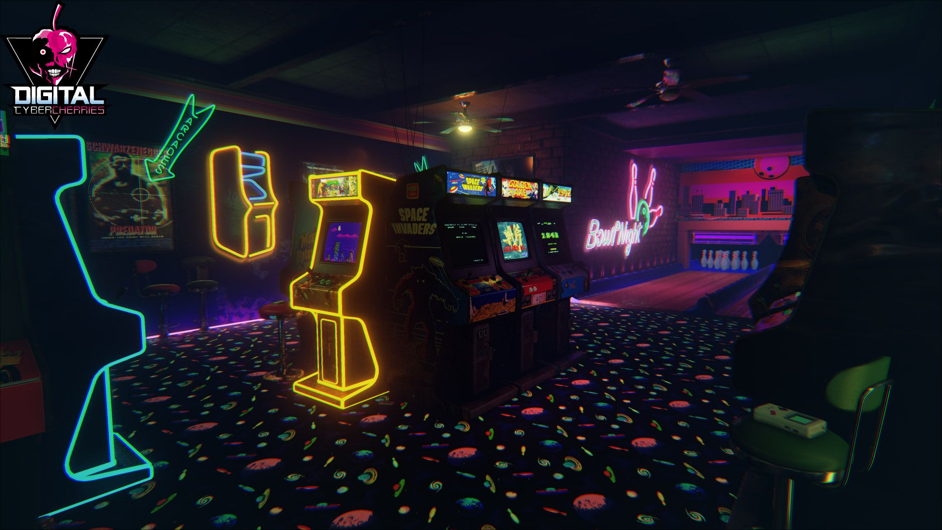 Idea: Arcade or video game store – dark space, neons, bright colors