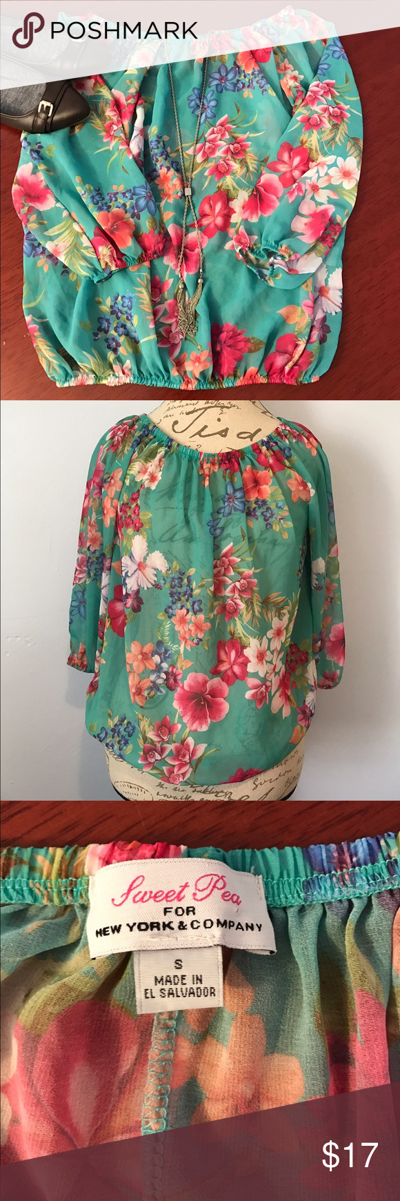 🌸 Sweet Pea Sheer Floral Top Size Small Polyester New York & Company Sweet Pea Top. Size Small. 100% Polyester sheer top. Has elastic at all openings that is very stretchy. Comment with any questions you may have. 🎀 New York & Company Tops Blouses