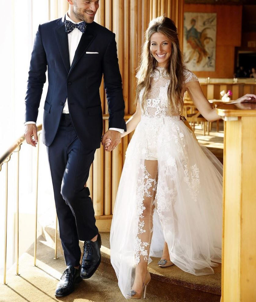 ce1a5a1cd2d Ines Di Santo - Ciana wedding dress that features an Illusion body suit  with detachable tulle skirt -- so fun!
