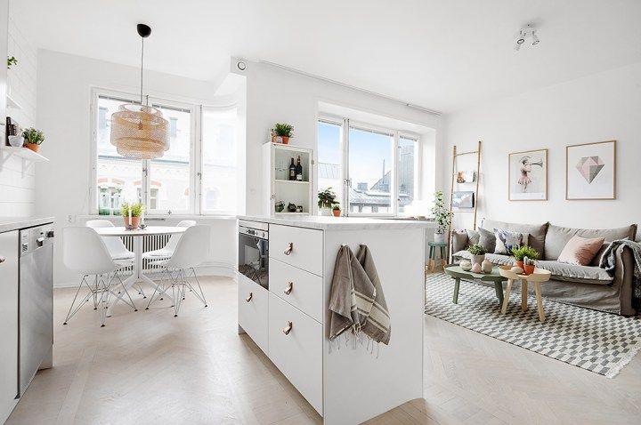 Una joya de 38 m² | Kitchen living rooms, Flats and Living rooms