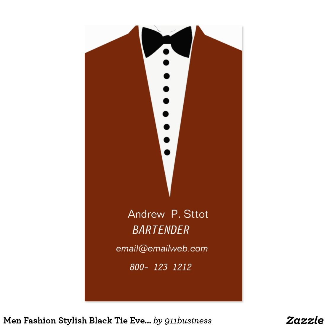 Business Card Template With Men S Tuxedo And Bow Tie Vertical
