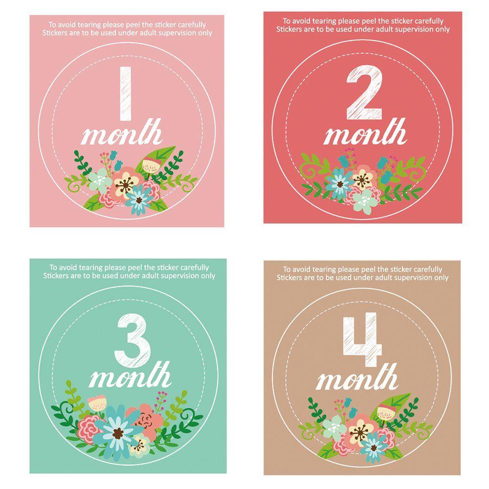 Scrapbook ideas baby milestones - Monthly Baby Stickers Waterproof Newborn Boys Girls Milestone Stickers Pambo Infant Age Belly Chalk