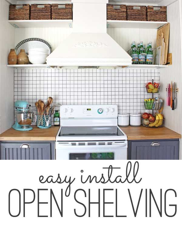 storage solution: simple open kitchen shelves | Open shelving ...