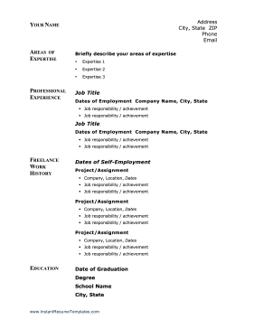 contractors and the self employed can use this printable resume to cover their freelance work free to download and print