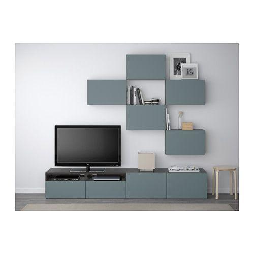 besta combinaison meuble tv brun noir valviken gris turquoise glissiere tiroir fermeture silence ikea