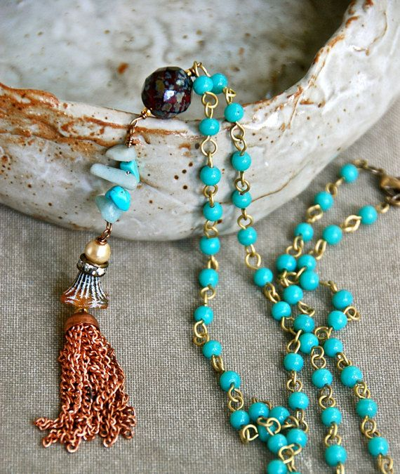 Sophia. bohemian long beaded turquoise gemstone by tiedupmemories