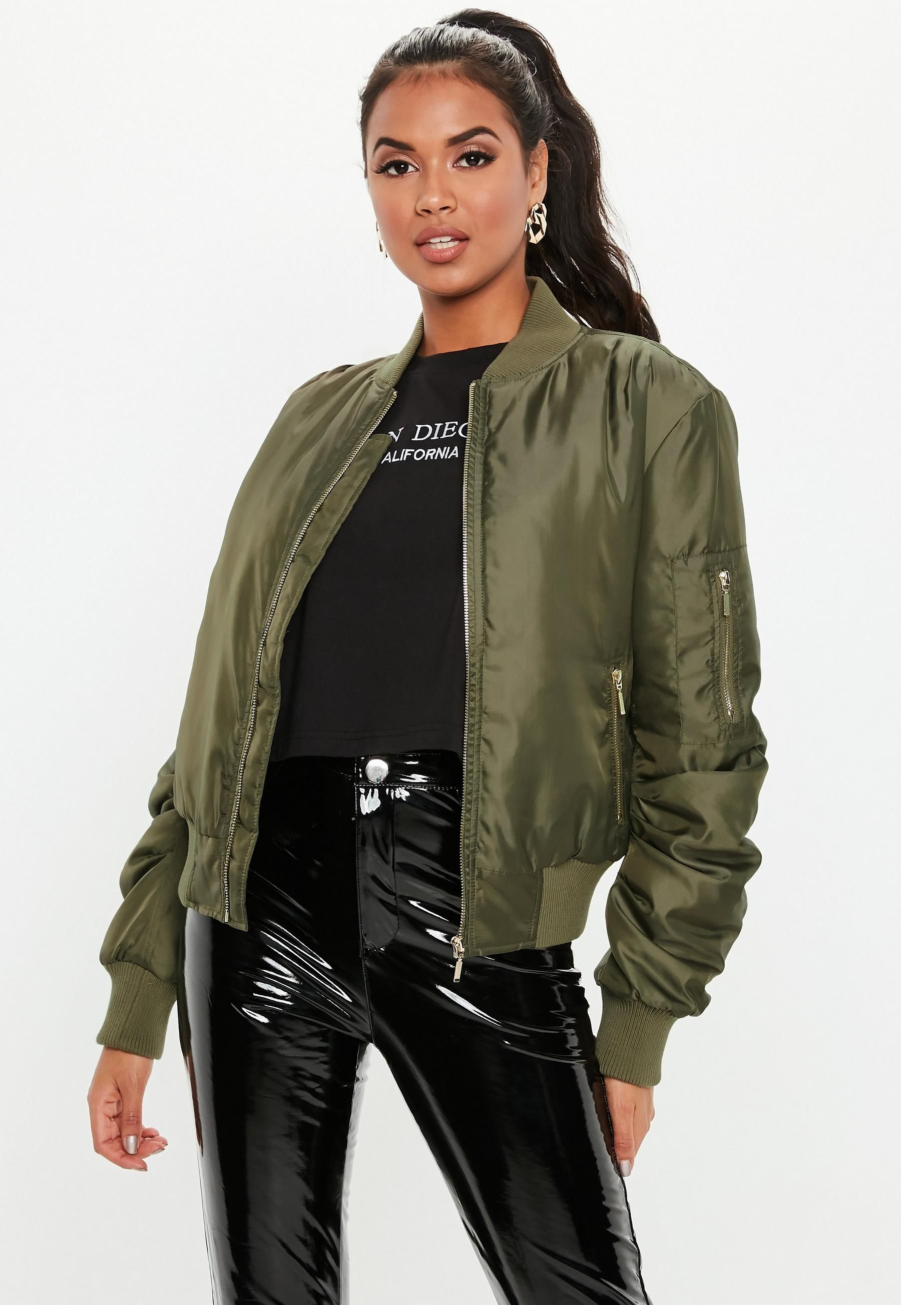 Black Padded Faux Shearling Collar Bomber Jacket Missguided 50/% Off Size 4