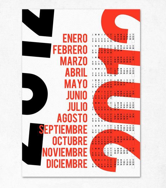 Typography Printable Calendar : Bold typographic calendar edubarba etsy design