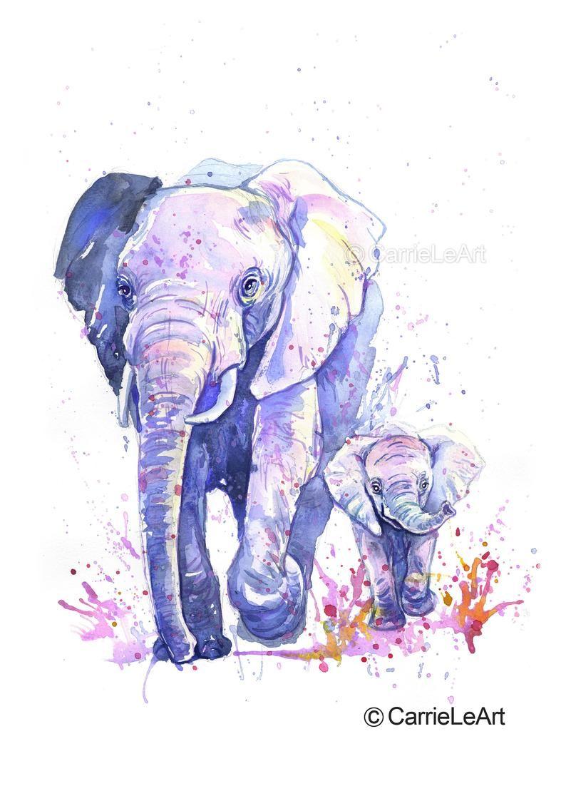 Elefant Druck Mutter Und Baby Elefant Malerei Elefant Etsy In 2020 Elephant Art Baby Elephants Art Elephant Painting