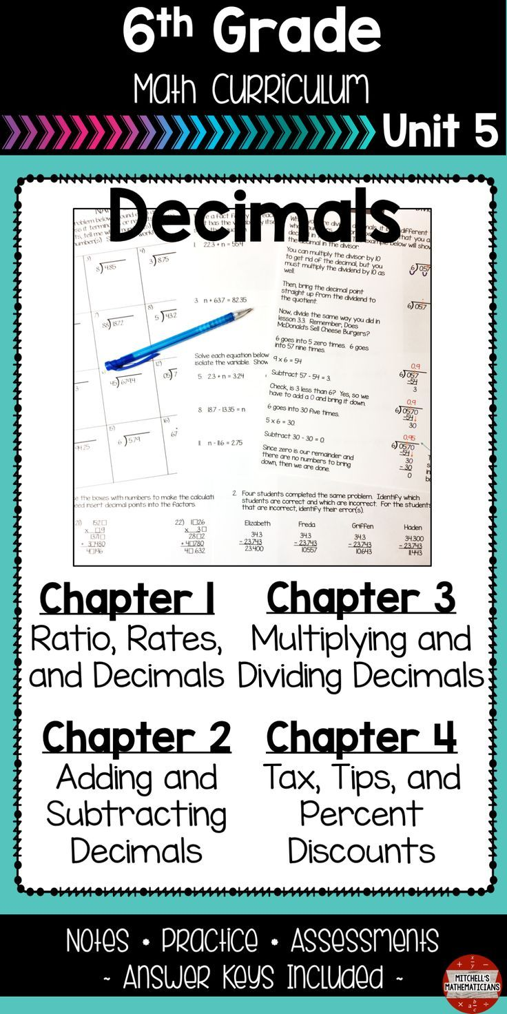 Decimals 6th Grade Math Unit Math, Word problems, One