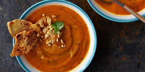 Sweet potato peanut soup - Heat up your evening with this rich, spicy soup.
