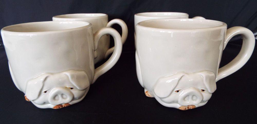 Set Of 4 Fitz Floyd Porky Mugs 1977 Vintage Ceramic Pig Cups Fitzandfloyd Vintage Pottery Fitz And Floyd