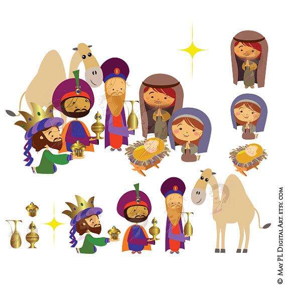 Christmas Nativity Scene Graphics Three Wise Men Kings Magi ...