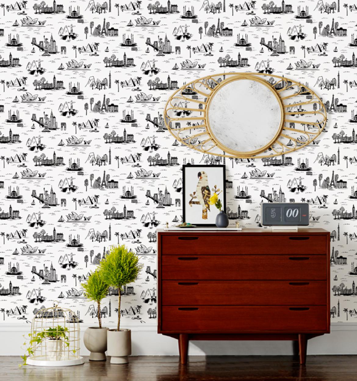 City Toile White Wallpaper