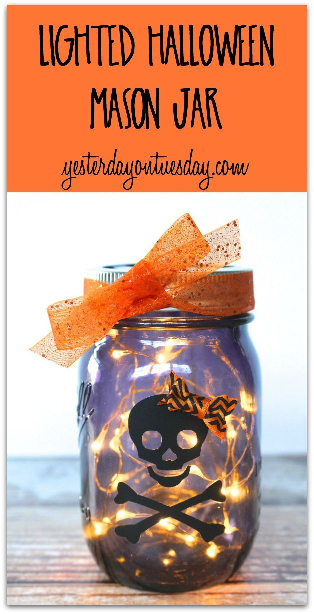 Lighted Halloween Mason Jar a fun and fast DIY decor or gift project - halloween lighted decorations
