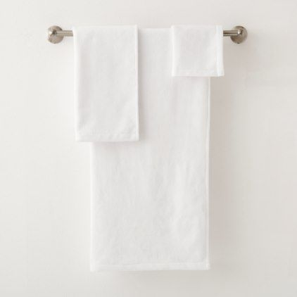Initial Plain White Bathroom Towel Set With Images White