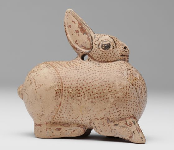 Aryballos in the Shape of a Hare, Terracotta, 8  × 7.4  × 4 cm (3 1/8  × 2 15/16  × 1 9/16 in.) Greek, 650-600 BC. Creation Place: Corinth (Corinthia) | Department of Ancient and Byzantine Art & Numismatics, Division of Asian and Mediterranean Art, Harvard Art Museums, Cambridge, Massachusetts