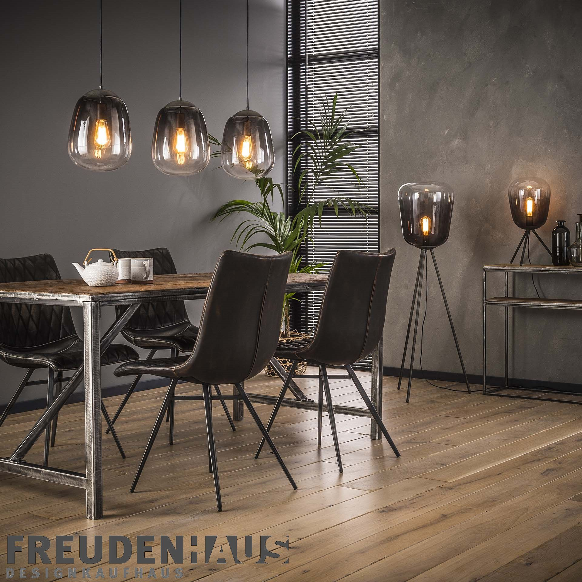 Stehlampe Shaded Bulb Industrial Getontes Rauchglas Lampen