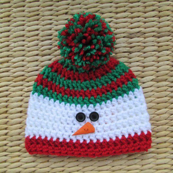 Snowman Hat, Christmas Hat, Christmas Baby, Winter Hat, Pom Pom Hat, Newborn Hat, Baby Hats, Toddler #menscrochetedhats