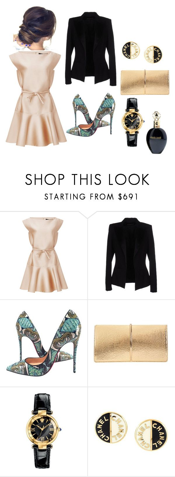 """#gold dress"" by seldy-enes ❤ liked on Polyvore featuring Paule Ka, Alexandre Vauthier, Christian Louboutin, Nina Ricci, Versace, Chanel and Roberto Cavalli"