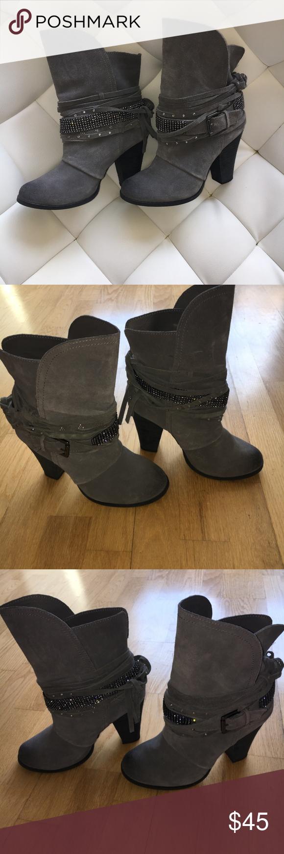 Gray Western style rhinestone boots