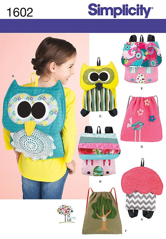OUT of PRINT Simplicity Pattern 1602 Child\'s Backpacks | Rucksäcke ...