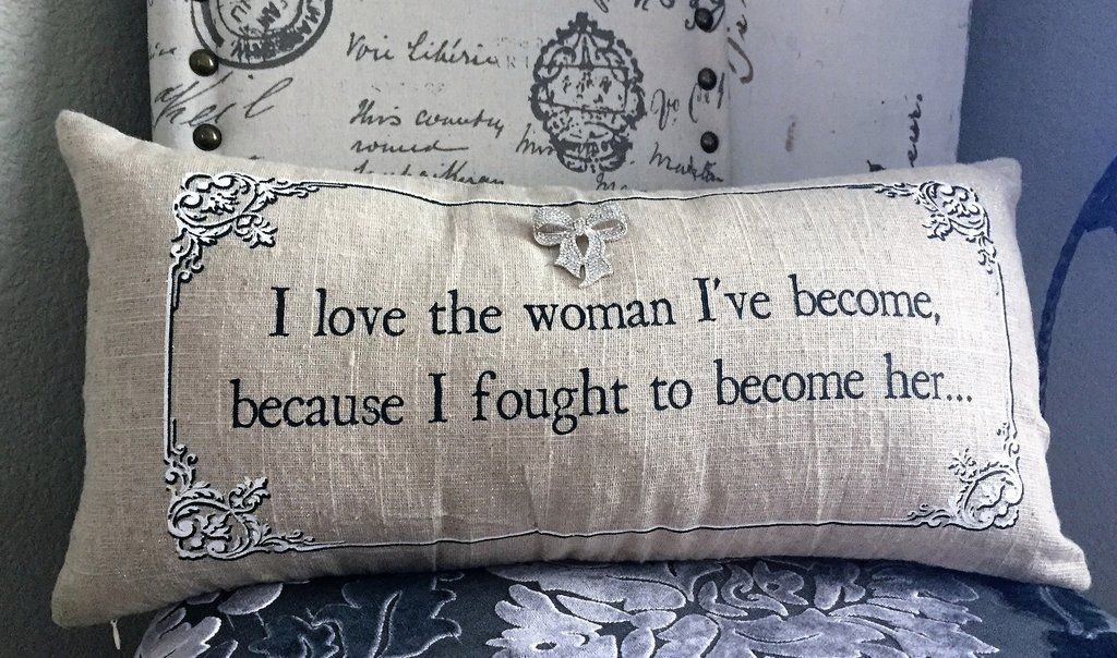 Motivational quote gift-pillow for women. Soft tan linen with a hint of  silver sparkle. Perfect for bedroom pillows 4b35b2b0f7