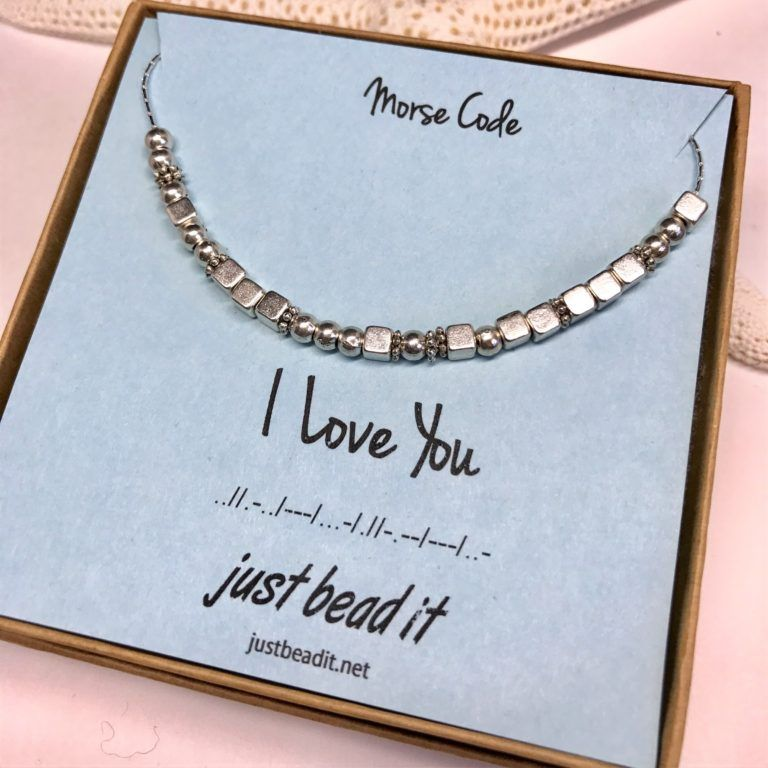 I Love You Morse Code Silver Necklace I Love You Silver Morse Code Necklace With Images Morse Code Necklace Morse Code Morse Code Bracelet