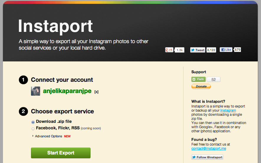 Instaport allows you to download all of your Instagram photos to